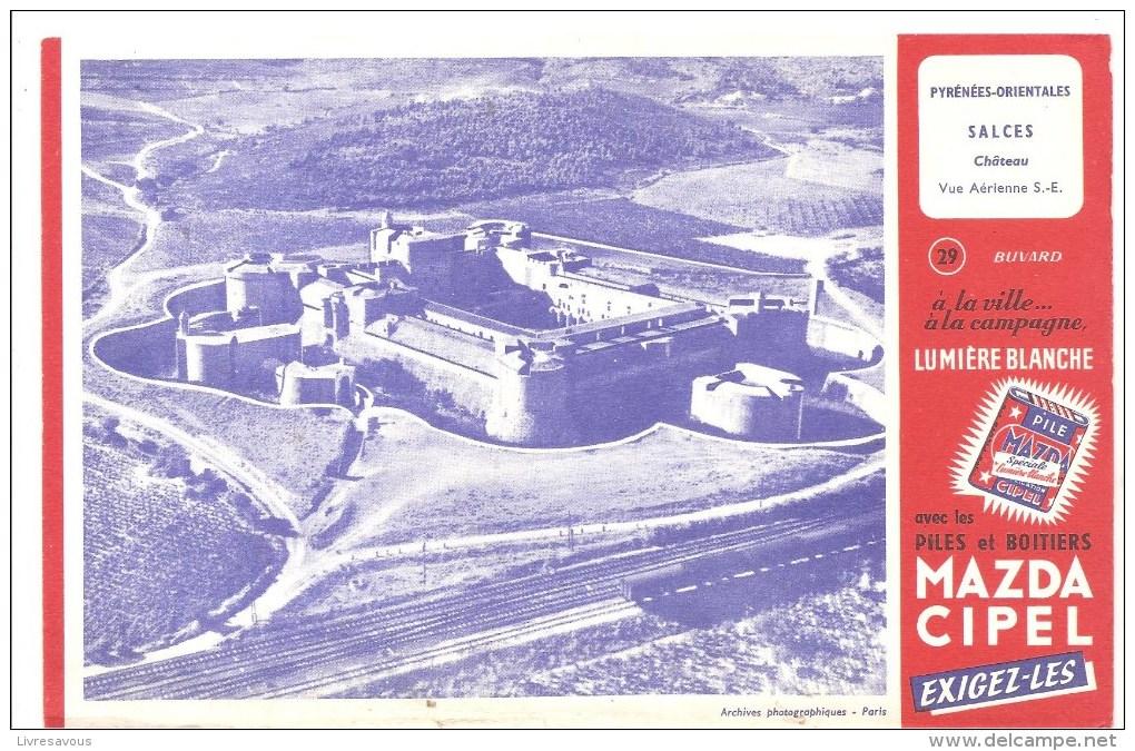 Buvard Pile Mazda Série Les Châteaux N°29 SALCES - Electricité & Gaz
