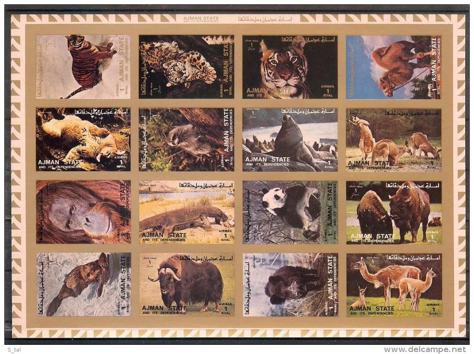AJMAN  Animals(panda,camel,tiger) Sheetlet Of 16 Stamps Imper. MNH - Stamps