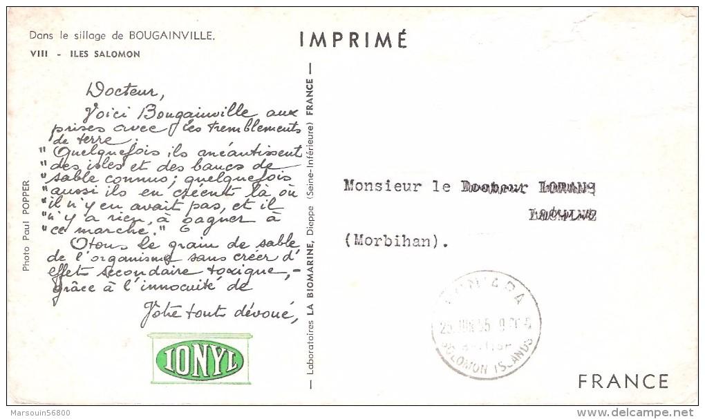 CPA - ILES SALOMON, Dans Le Sillage De BOUGAINVILLE, Carte Publicitaire IONYL - Salomon