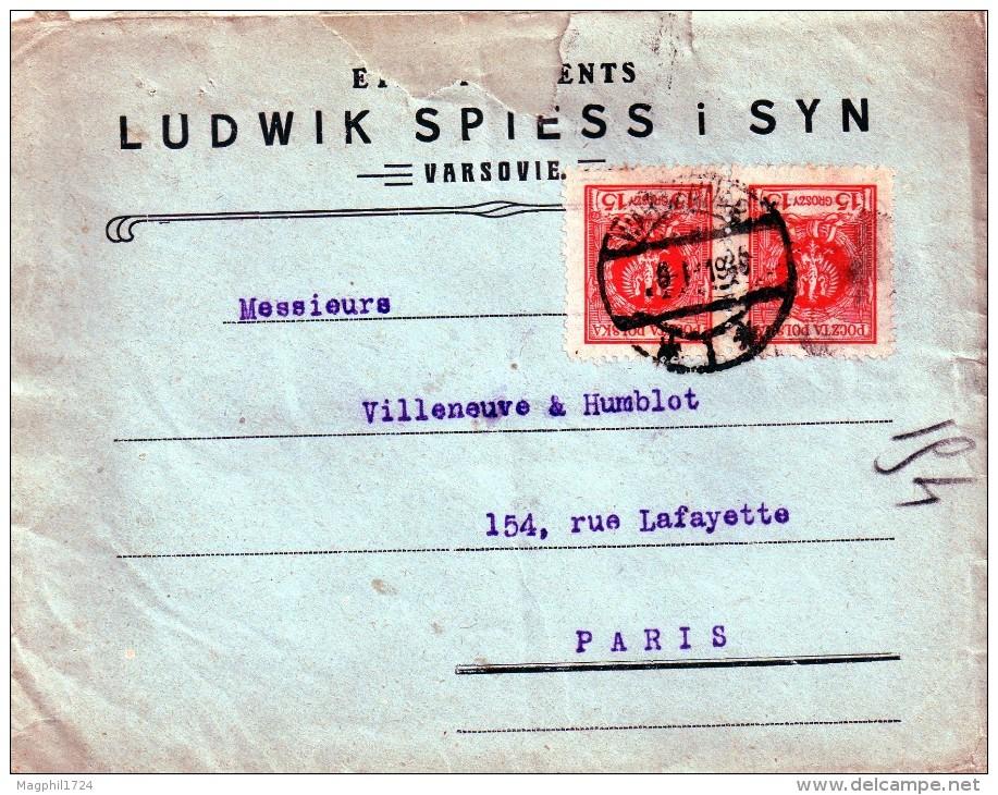 Lettre   De Pologne  Pour La  France 1919 - 1919-1939 Republiek