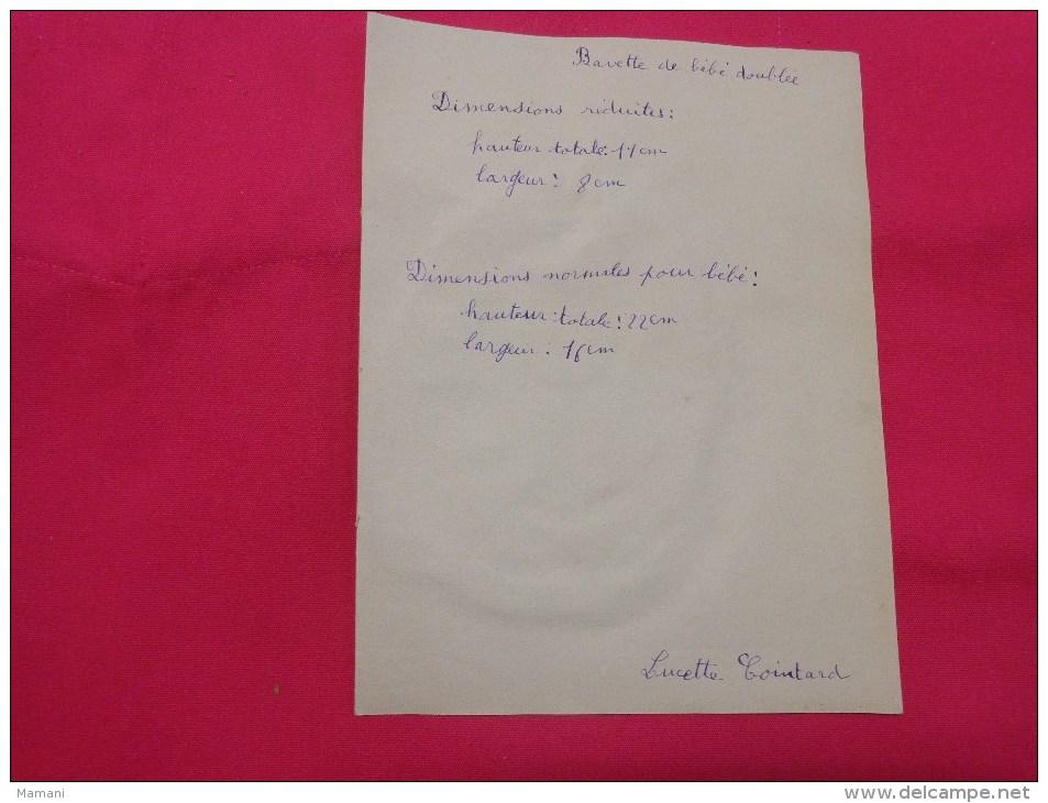 Bavette De Bebe Doublee-(petit Bavoir)- Devoir De Dessin Et De Couture Dans Les Ecoles (les Poussins) - Loisirs Créatifs