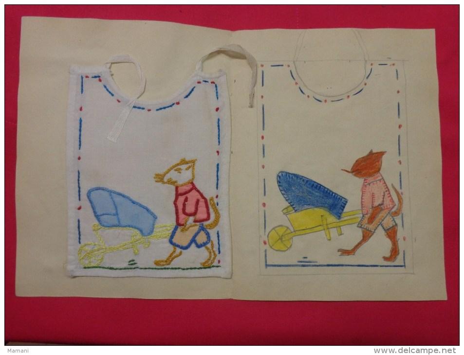 Bavette De Bebe Doublee-(petit Bavoir)- Devoir De Dessin Et De Couture Dans Les Ecoles (souris  Brouette ) - Non Classés