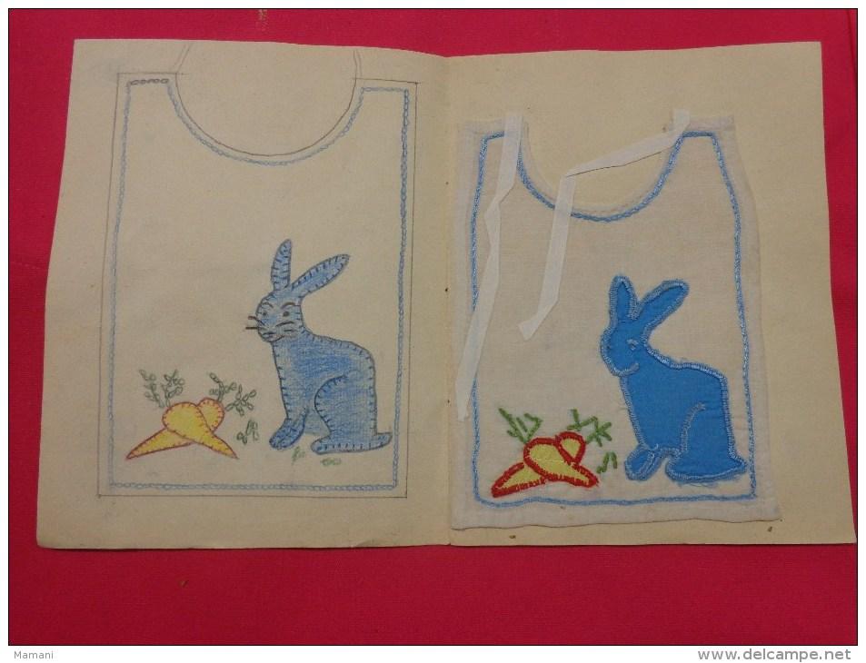 Bavette De Bebe Doublee-(petit -devoir De Dessin Et De Couture Dans Les Ecoles (lapin Carotte - Loisirs Créatifs