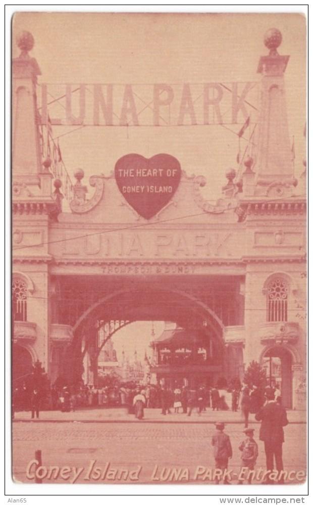 Coney Island Amusement Park New York, Luna Park Entrance Gate, C1900s/10s Vintage Postcard - Brooklyn