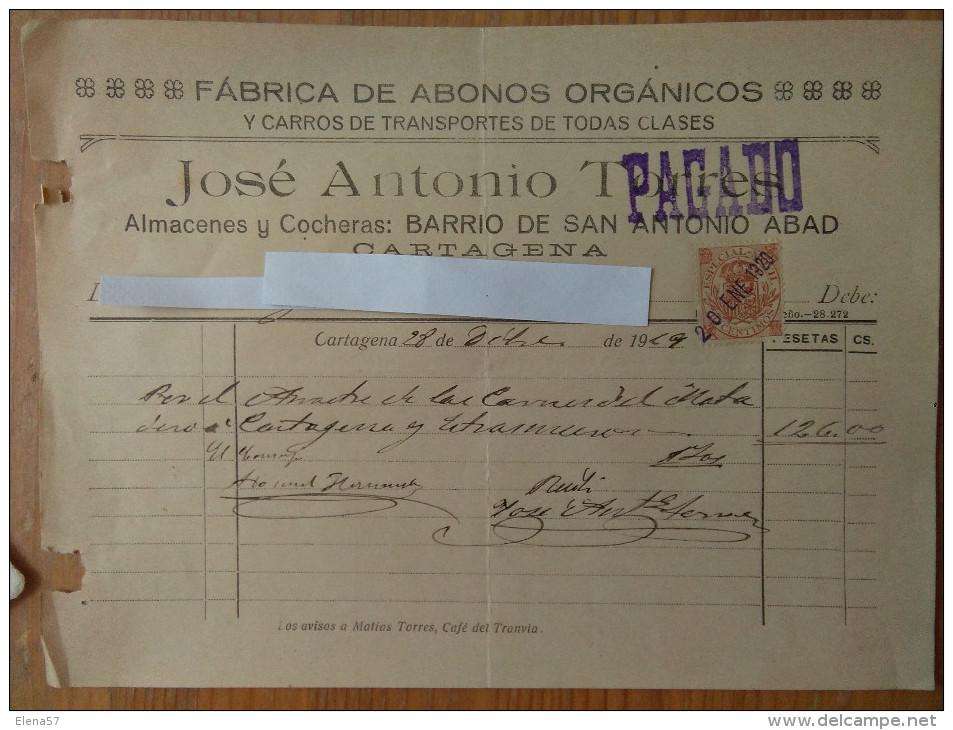 Q391-DOCUMENTO ANTIGUA FACTURA CON SELLO FISCAL AÑO 1919  FABRICA DE ABONOS ORGANICOS Y CARROS DE TRANSPORTE JOSE ANTONI - España