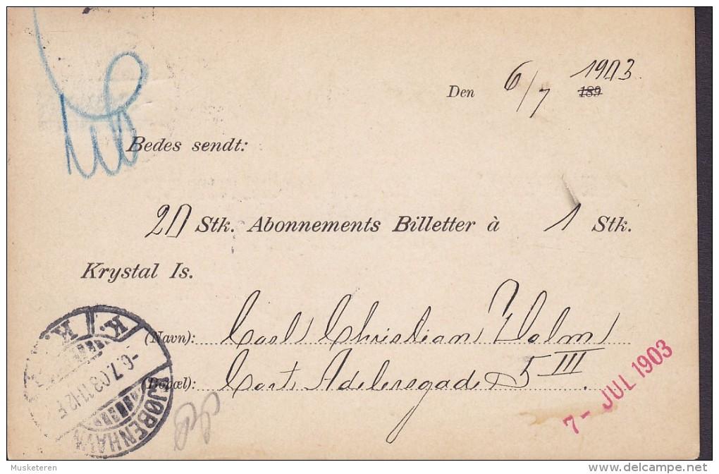 Denmark DE FORENEDE BRYGGERIERS (Brewery) KRYSTAL-ISVÆRK (Icecream) KJØBENHAVN V. 1903 Card Karte (2 Scans) - 1864-04 (Christian IX)