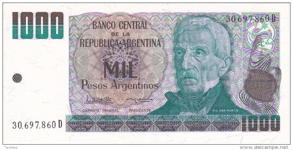BILLETE DE ARGENTINA DE 1000 PESOS ARGENTINOS DEL AÑO 1983  (BANKNOTE) SIN CIRCULAR-UNCIRCULATED - Argentina