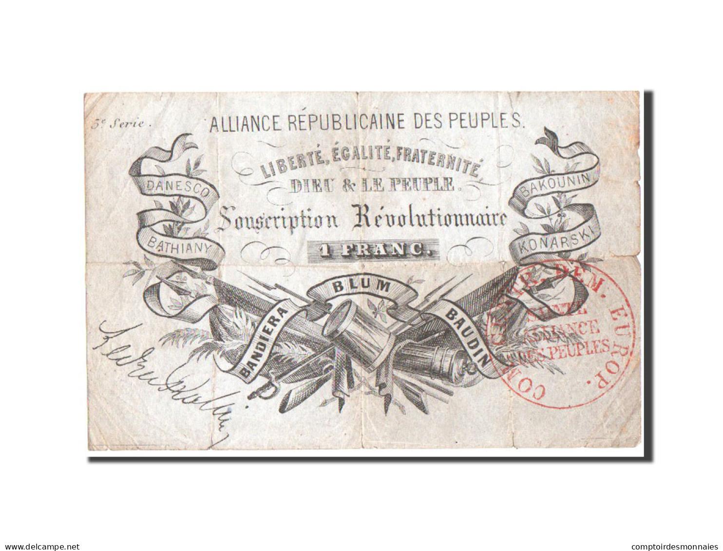 France, Alliance Républicaine Des Peuples, 1 Franc, 1852, Pick UNL - ...-1889 Franchi Antichi Circolanti Durante Il XIX Sec.