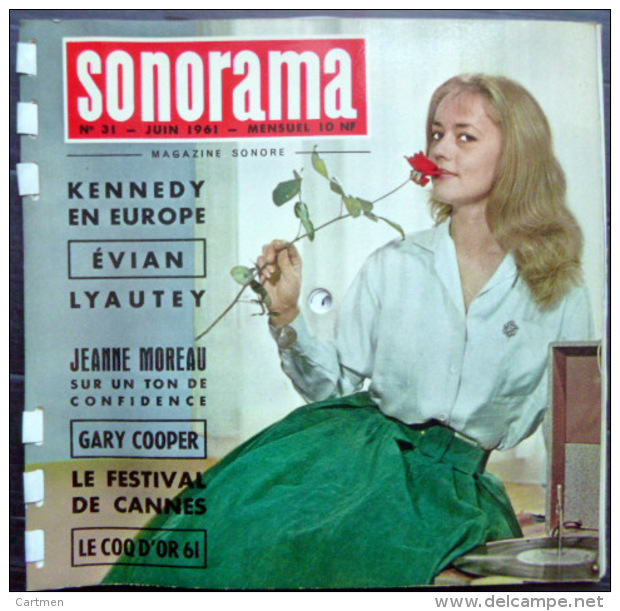 SONORAMA  JEANNE MOREAU GARY COOPER FESTIVAL DE  CANNES   BIEN COMPLET DES DISQUES  N° 31 1961 TBE - Unclassified