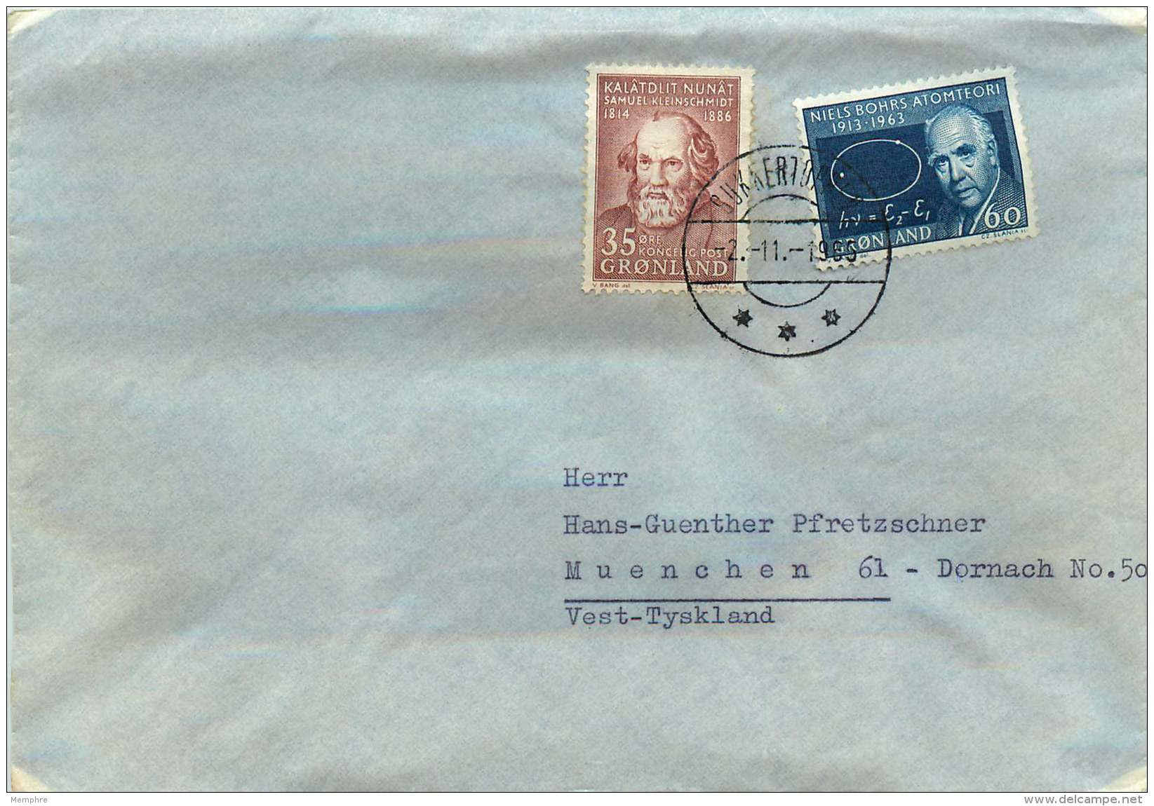 1965  Letter To Germany From Telestation Sukkertoppen  MiNr 63, 64 - Covers & Documents