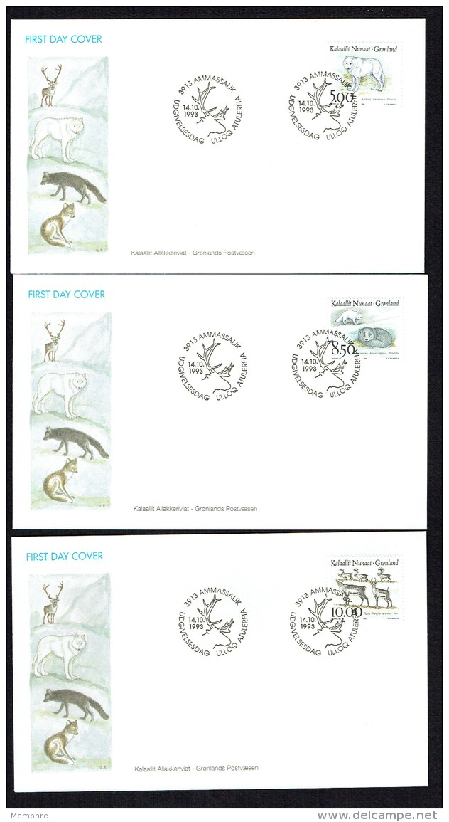 1993   Local Animals: Wolf, Lagopede, Reindeer  MiNr 239-241 - FDC