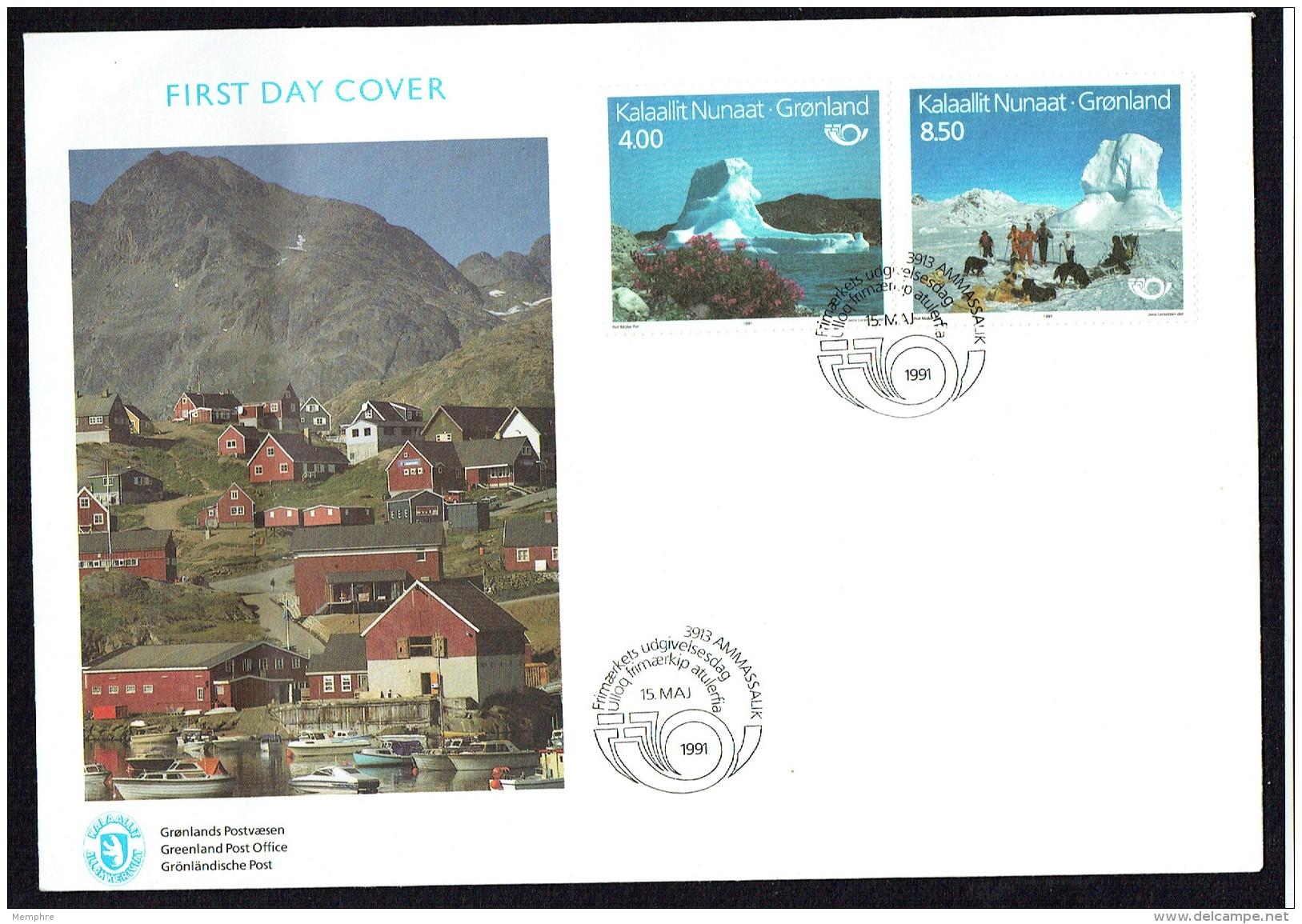 1991  Tourism Issue: Iceberg, Dog Sled  MiNr 217-8 - FDC