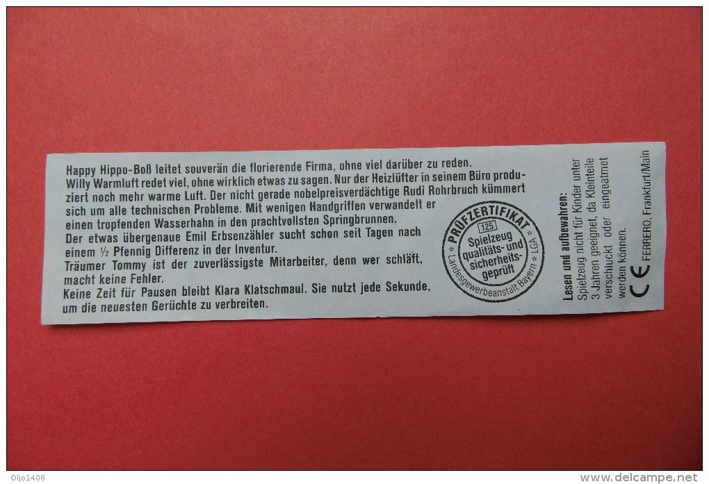 Beipackzettel - Die Originale Übersicht Zu: Happy Hippo Company - Ausgabe 1994 - Maxi (Kinder-)