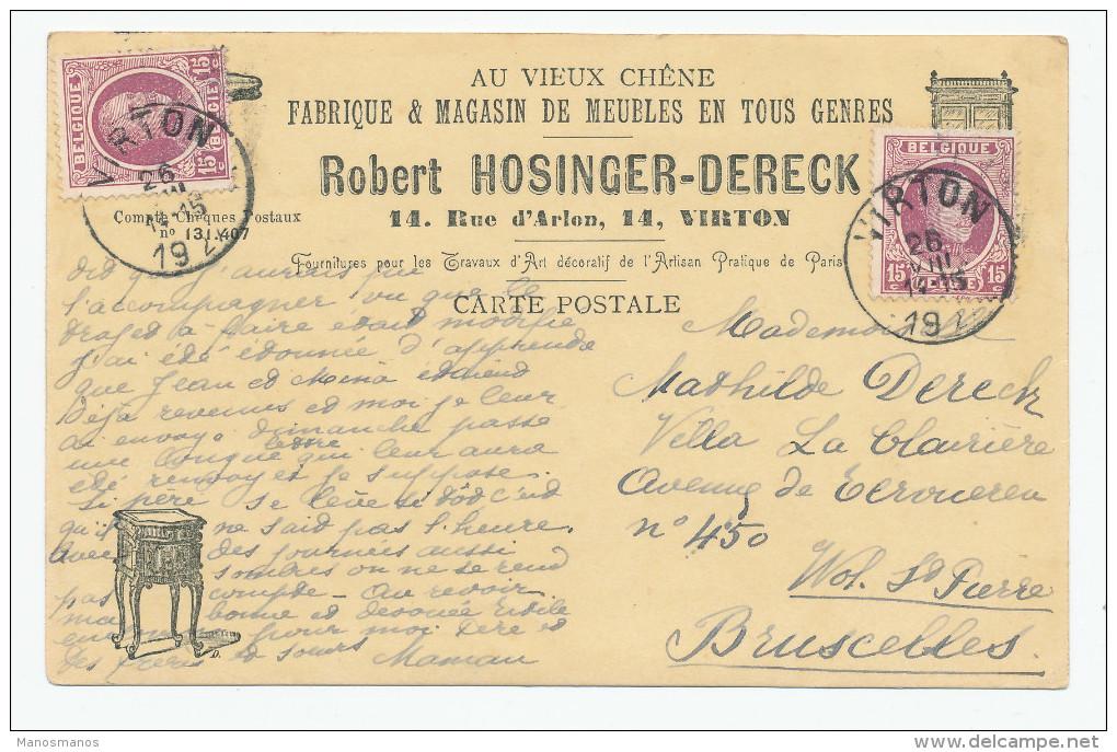 717/23 - BELGIQUE - Carte Illustrée Meubles Hosinger à VIRTON - TP Houyoux 1927 - 1922-1927 Houyoux