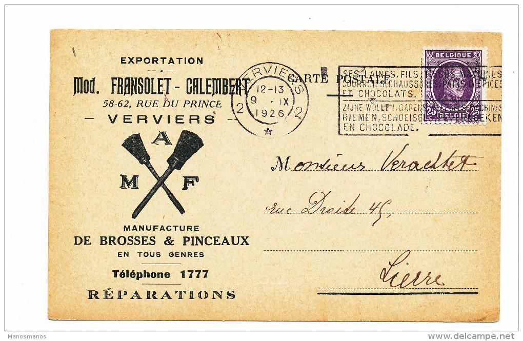 718/23 - BELGIQUE - Carte Illustrée Brosses Et Pinceaux Fransolet-Calembert à VERVIERS - TP Houyoux 1926 - 1922-1927 Houyoux