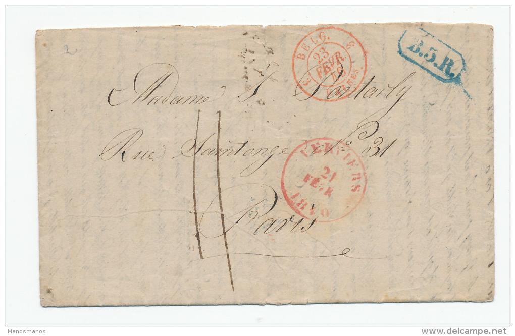 816/23 -- Lettre Précurseur VERVIERS 1840 Vers PARIS - RARE Marque B5R En Bleu De Bruxelles - 1830-1849 (Belgique Indépendante)
