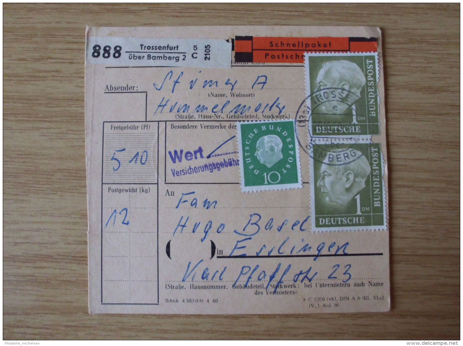 1959/60, SAMMLUNG PAKETKARTEN Mit Der HEUSS-AUSGABE Mit STEMPEL Von TROSSENFURT über BAMBERG - Storia Postale