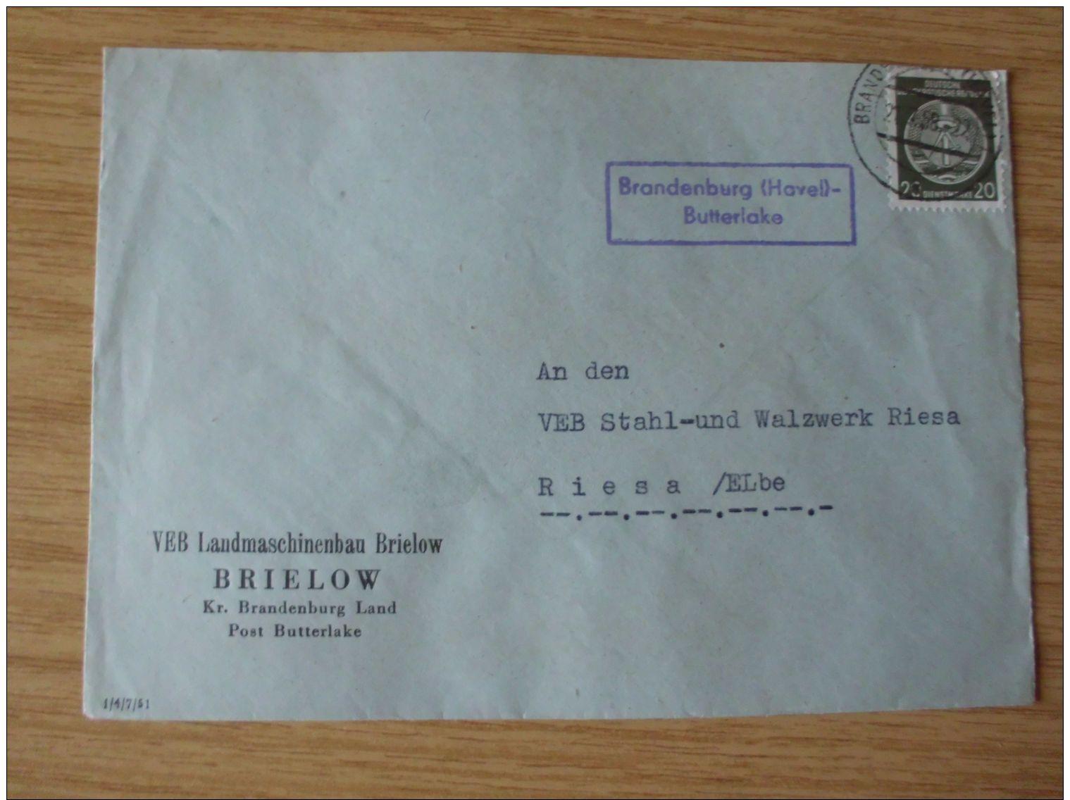 DDR, 1958, DIENSTBELEG Des VEB LANDMASCHINENBAU BRIELOW  Mit LANDPOST-STEMPEL BRANDENBURG (HAVEL)- BUTTERLAKE - [6] Repubblica Democratica