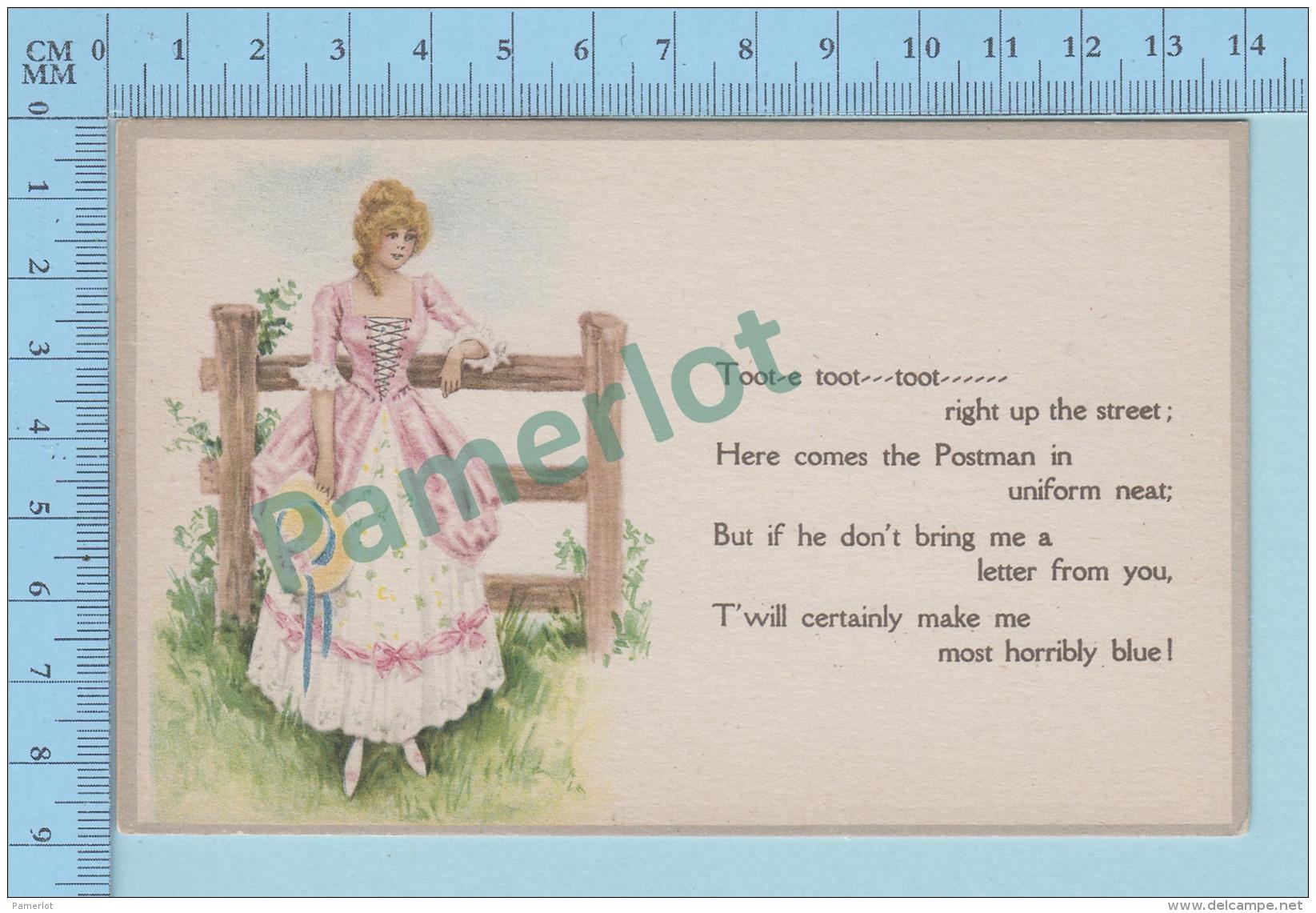 USA,  CPA, Girls Waiting For The Postman - Postcard Carte Postale 2 Scans - Philosophie & Pensées