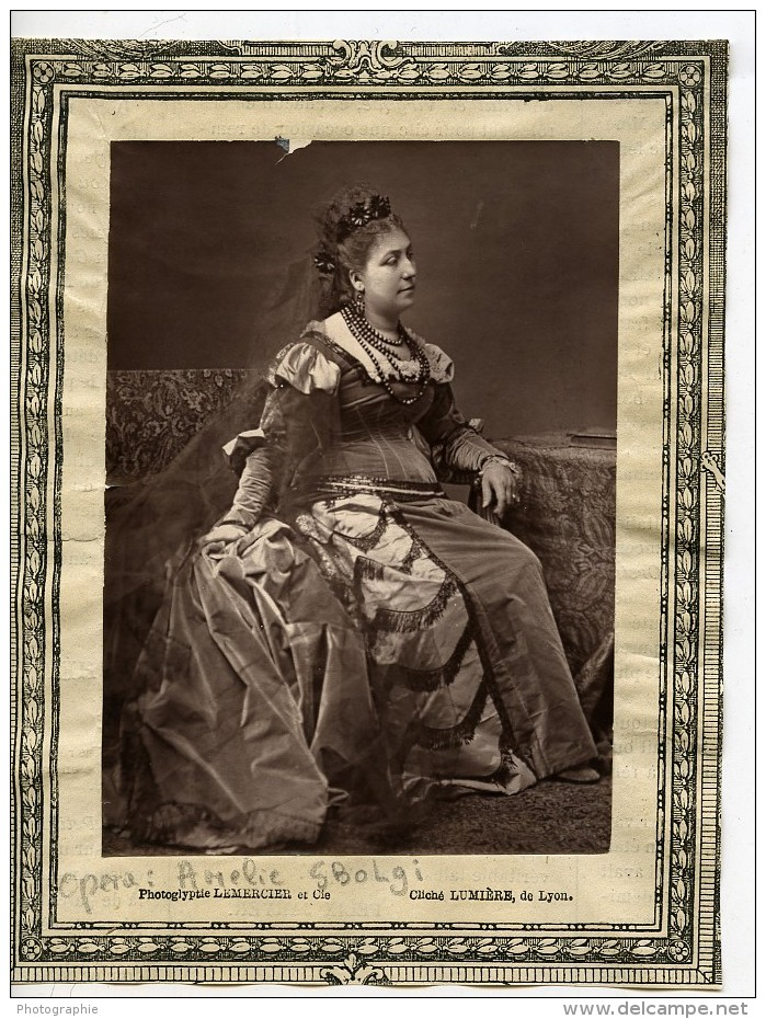 France Opera Chanteuse Amelie Sbolgi Ancienne Photoglyptie Photo Lumiere 1875 - Photographs