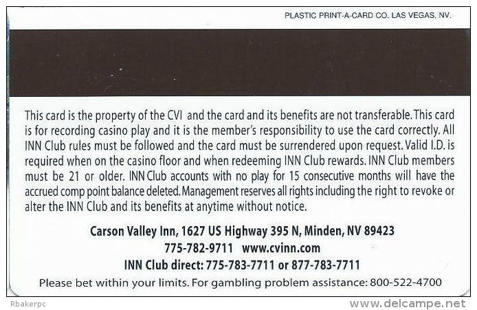 Carson Valley Casino - Carson City, NV - 8th Issue Slot Card - Last Line In Paragraph Starts ´alter´ - Casino Cards