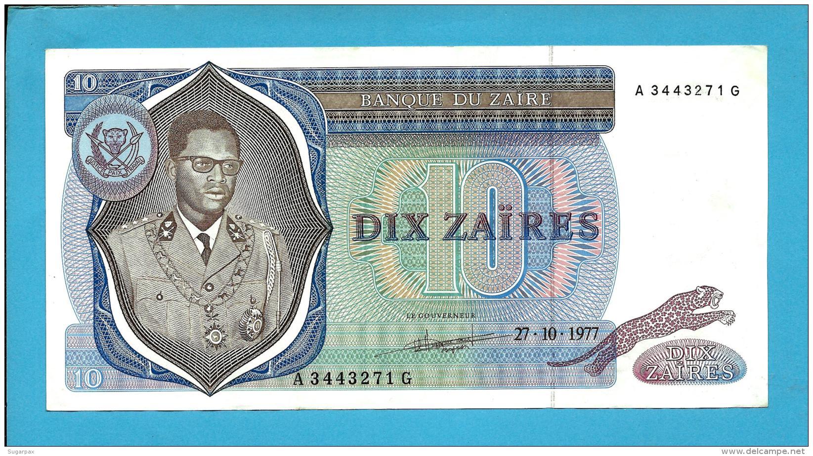 ZAIRE - 10 ZAIRES - 27/10/1977 - Pick 23.b - Sign. 4 - Mobutu - 2 Scans - Zaire