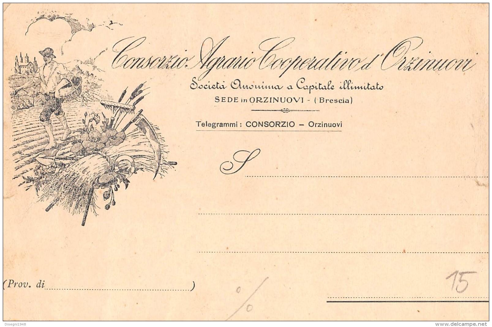"05801 ""ORZINUOVI (BS) - CONSORZIO AGRARIO COOPERATIVO D'ORZINUOVI"" CART. COMM. INTEST., SPEDITA 1918 - Commercio"