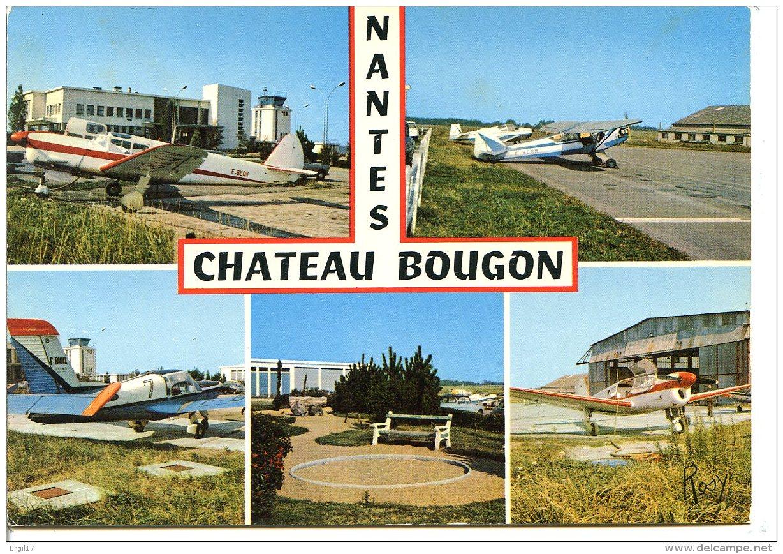 44000 NANTES - L'aérogare Et L'aéroclub Château-Bougnon - 3 Avions : Piper PA-18, Morane-Saulnier, Miles M.38 Messenger - Nantes