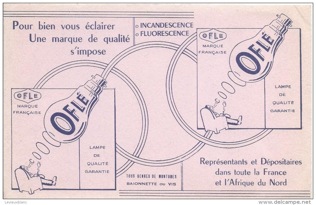 Buvard/ Electricité/ Ampoules/OFLE/ Incandescence- Fluorescence/Marque Française/1955-60   BUV280 - Electricité & Gaz