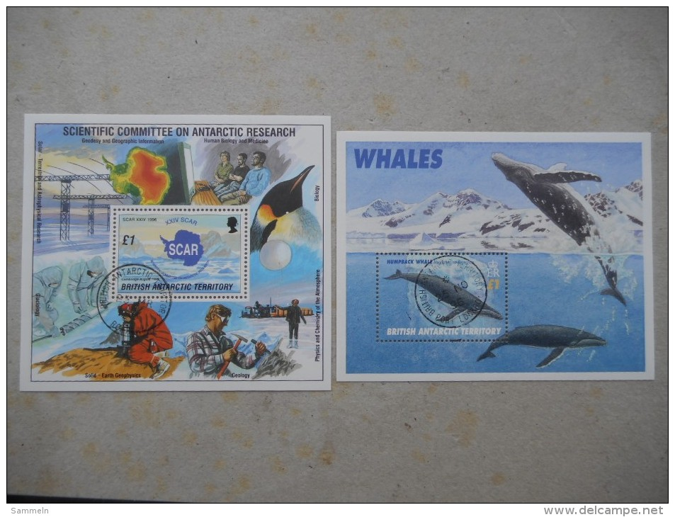 Y026 British Antarctic Territory Block 3, 4 Canc. / 1996 Beide Blockausgaben Cpl. Scar / Wale - Britisches Antarktis-Territorium  (BAT)