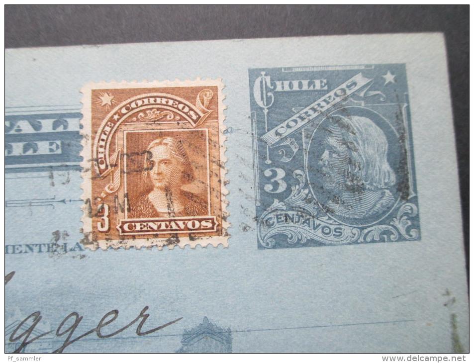 Chile 1908 Ganzsache / Stationary Mit Zusatzfrankatur Nach Deutschland. - Chile