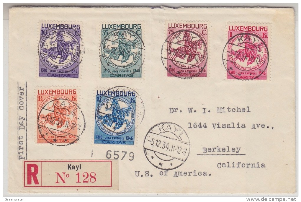 Luxemburg 1934 Caritas 6v On Registred FDC To California Ca Kayl 5.12.34 (30757) - FDC