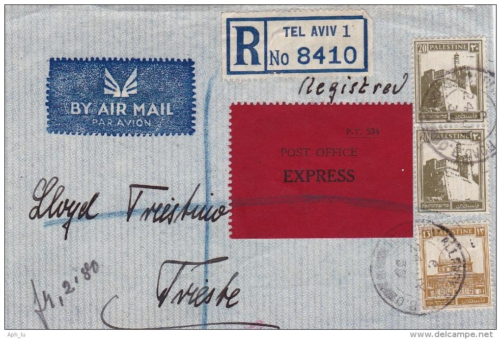 Ausschnitt Von Tel Aviv Nach Trieste 1938 (l029) - Palestine