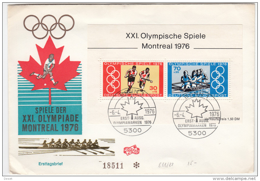 Germany 1976 Summer Olympics In Montreal FDC 1976 D160701 - Estate 1976: Montreal