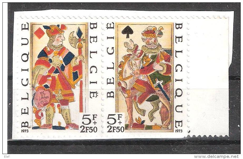 BELGIQUE 1973 , Cartes à Jouer Anciennes / Playing Card ; PAIRE Se Tenant Yvert N° 1689 / 1680 Neuve Sur Fragment, TB - Altri