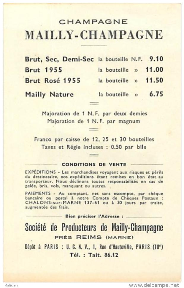 - Themes Divers -ref-M840- Publicite - Feuillet  Societe De Producteurs - Mailly Champagne - Pres Reims - Marne - - Publicité