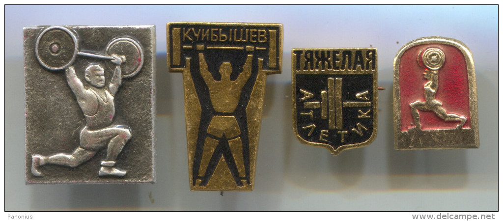 WEIGHTLIFTING - Vintage Pin Badge, Set 4 Pieces - Weightlifting
