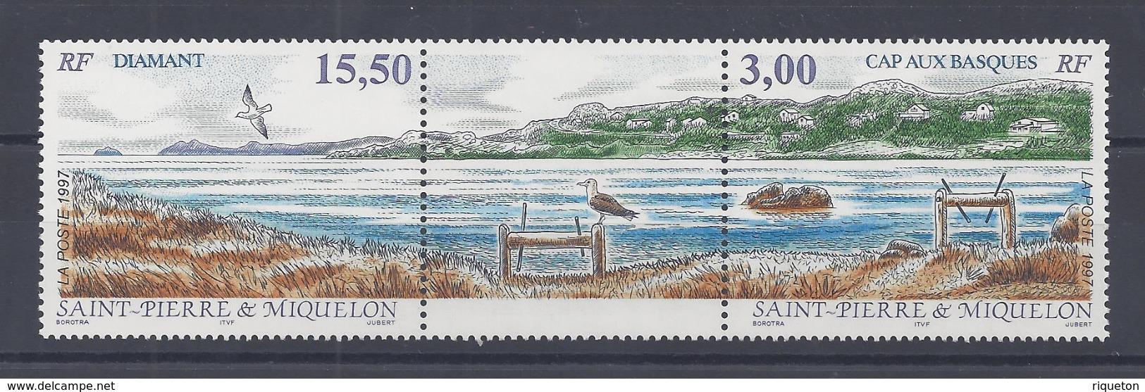 SPM - 1997 -  N° 654 A - TRIPTYQUE AVEC VIGNETTE CENTRALE - XX - MNH - TB - - St.Pierre Et Miquelon