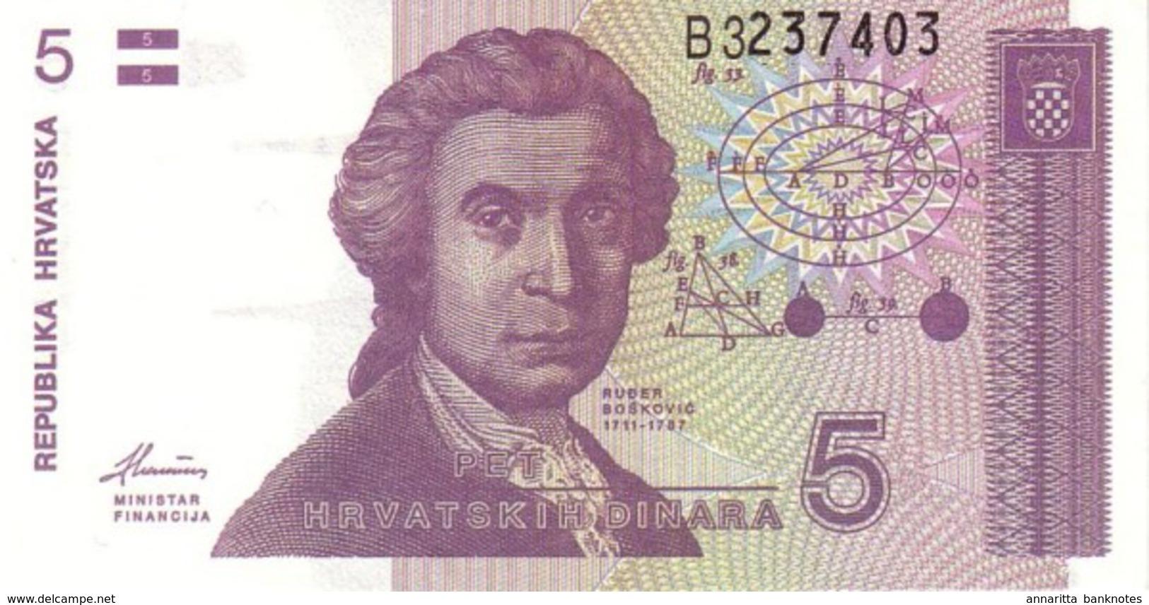 CROATIA 5 DINARS 1991 UNC [ HR302a ] - Croatia