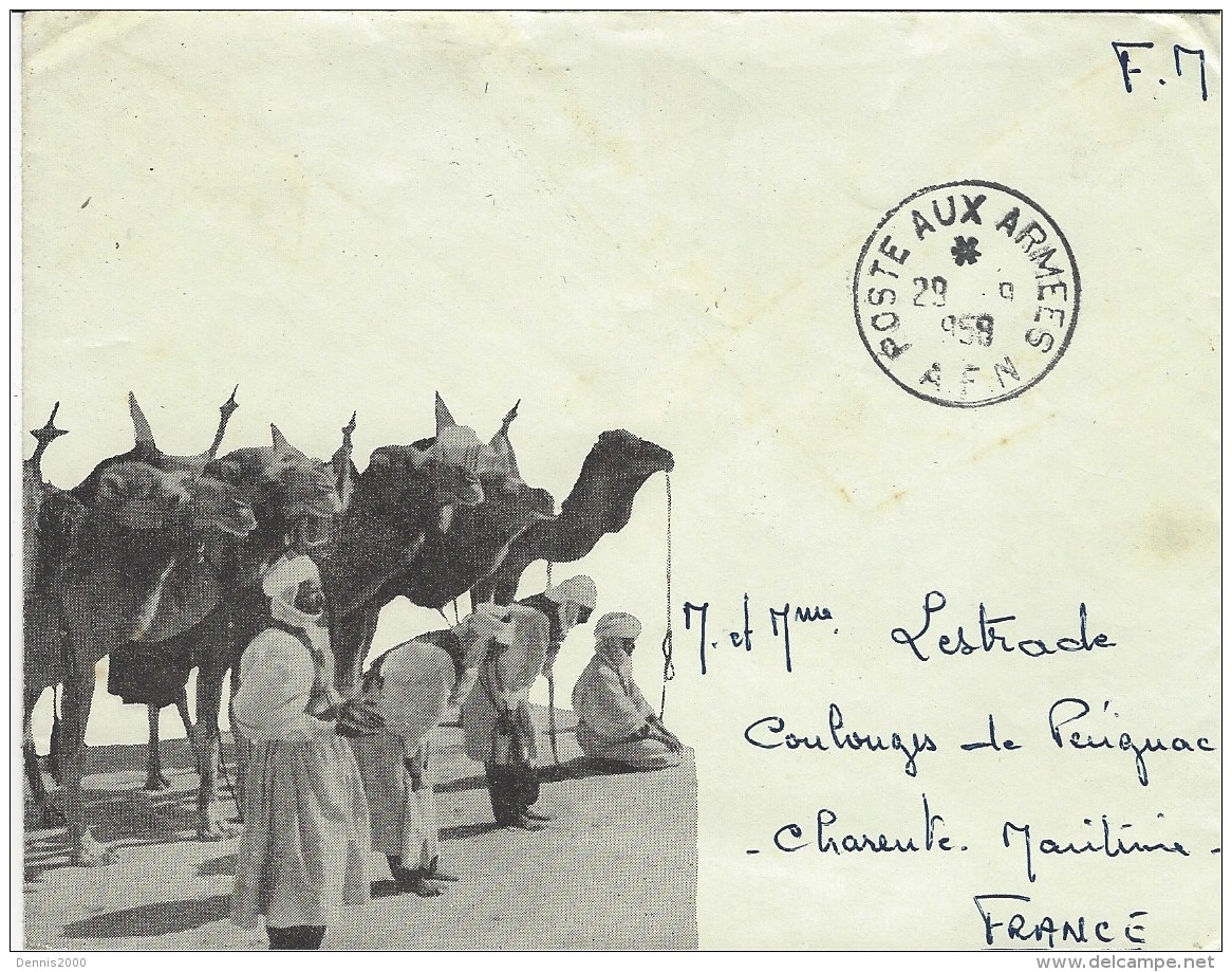 1959- Enveloppe Illustrée De Chameliers  En F.M. Pour La France - Oorlog In Algerije