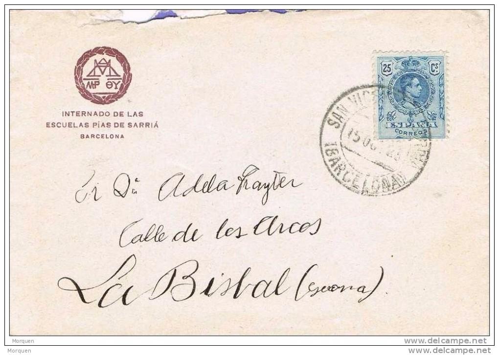 18552. Carta SAN VICENTE De SARRIA (barcelona) 1923. Afonso XIII Medallon - 1889-1931 Reino: Alfonso XIII