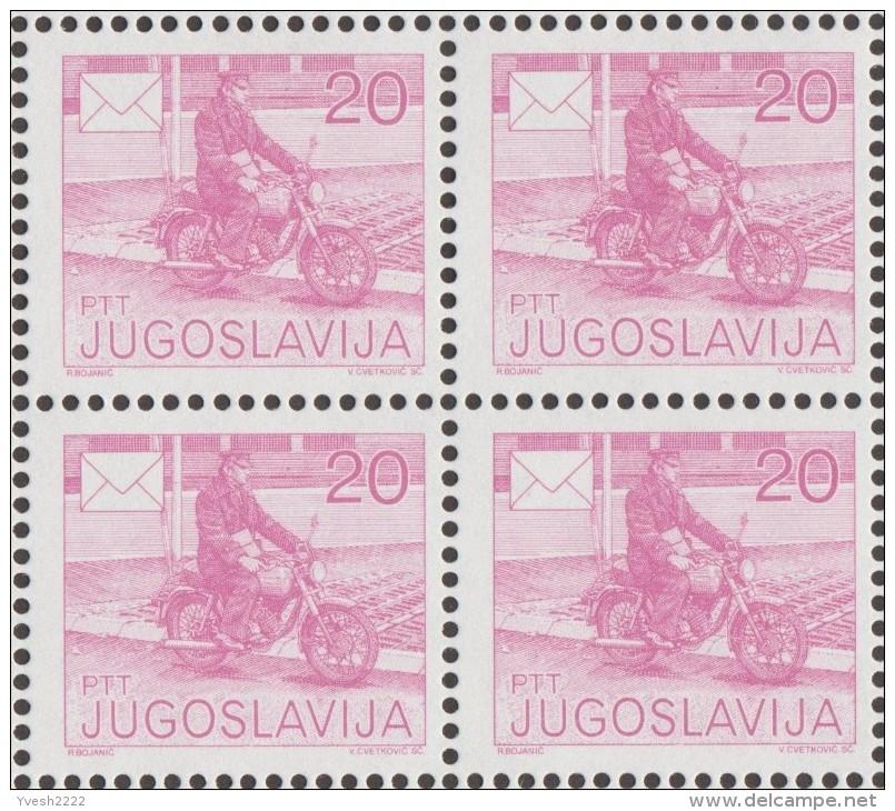 Yougoslavie 1986 Y&T 2029A Michel 2151A. Dentelé 13 1/2  Bloc De 4  Y&T 2.40 €. Facteur à Moto - Motorbikes