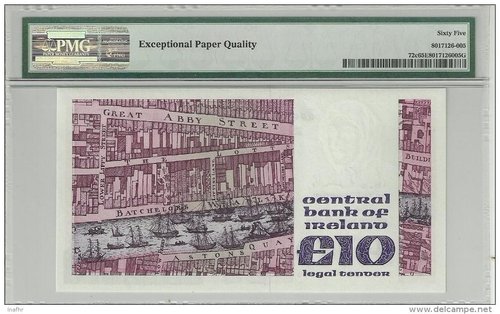 Ireland 10 Pound 1987-92 P72c GRADED 65 EPQ (GEM UNCIRCULATED) By PMG - Irlanda