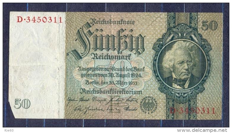 Germany - 1933- 50 Mark   E/D  -    ( VF+ ) .P-182a ...R 175a - 50 Reichsmark