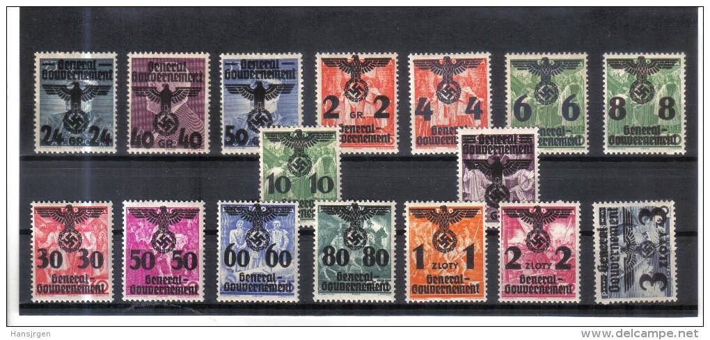 XAX285  GENERALGOUVERNEMENT 1940 MICHL 17/29   ** Postfrisch Siehe ABBILDUNG - Besetzungen 1938-45