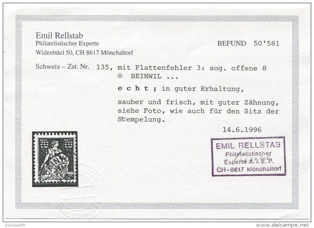 1531 -  Helvetia Mit Schwert Mit ABART Offene 8 Von 80, Sauber Gestempelt Mit Befund - Abarten