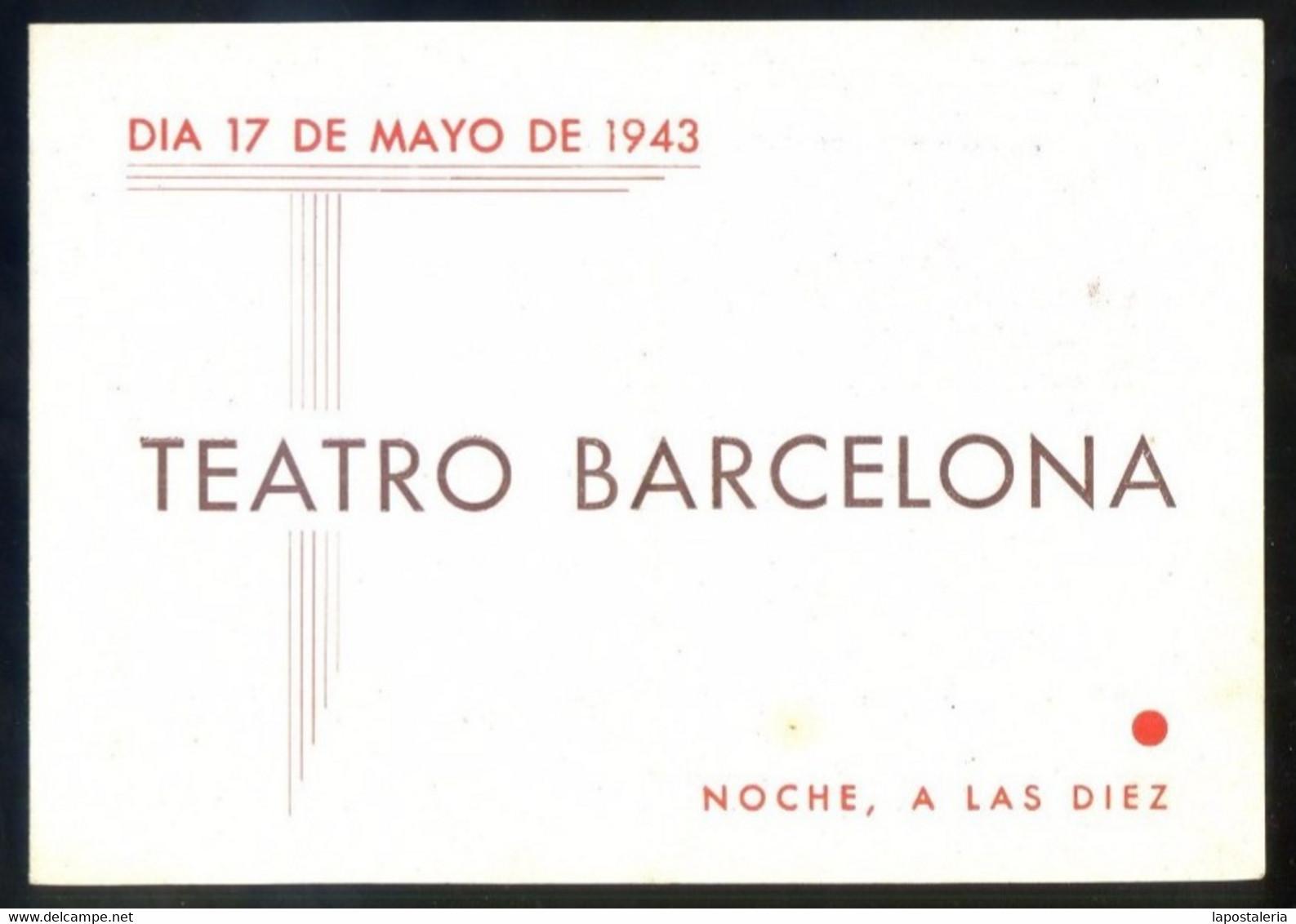 Barcelona. Teatro Barcelona *Los Ladrones Somos Gente...* Impreso Díptico 1943. Meds: 108 X150 Mms. - Programas