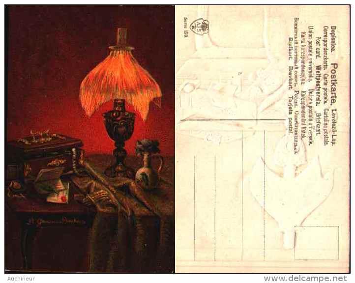 A Gammius Boecker, Nature Morte - Cigarettes Allumettes Table Homme Femme Voyage X 3 Gaufré Embossed - Autres Illustrateurs