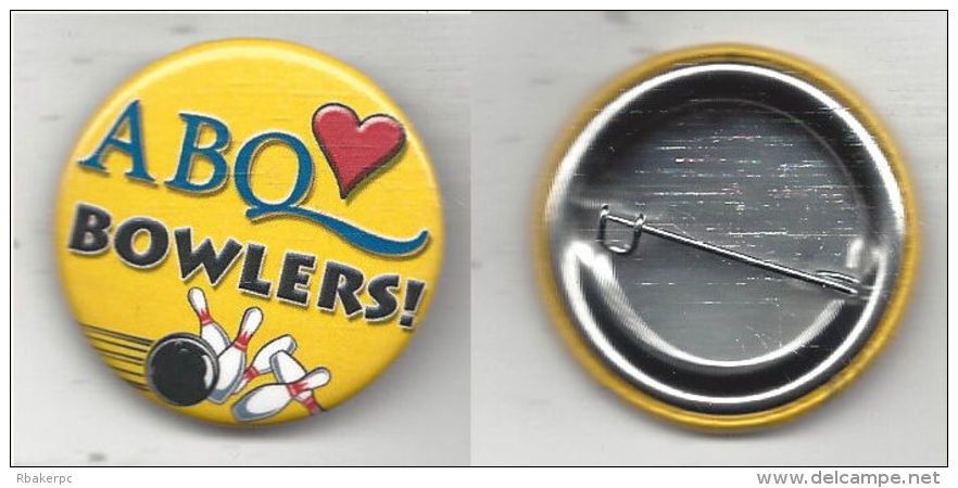 36mm Metal Pinback From One Of The Albuquerque, NM ABC National Bowling Tournaments - USA - Bowling