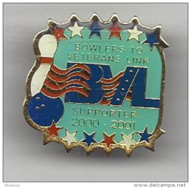 BVL - Bowlers To Veterans Supporter Pin From 2000-2001 - Supporting US Military Veterans - Bowling
